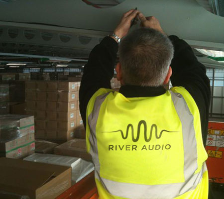 warehouse sound system Install