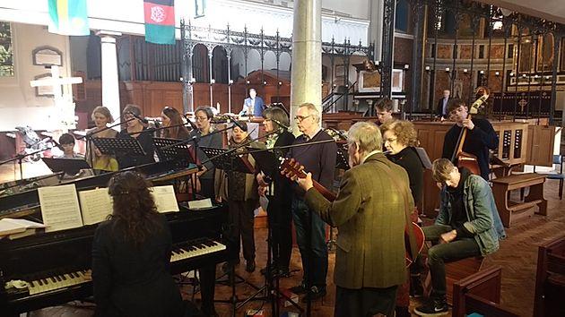 Church Choir using sound system